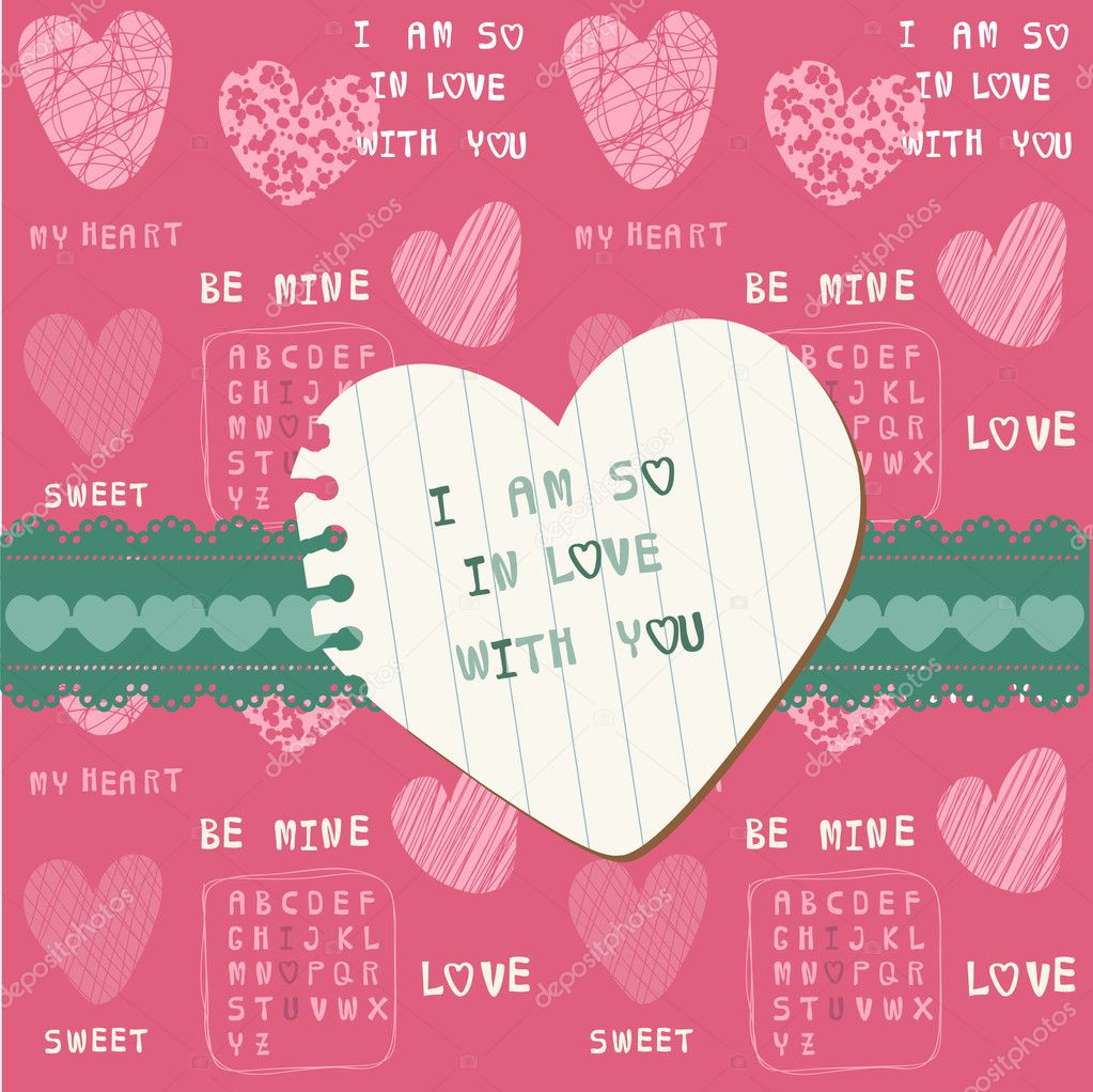 Cute Love Card - for Valentine's day, scrapbooking  in vector — Stock Vector #8502696