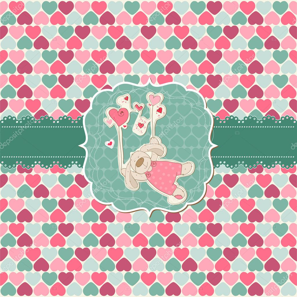 Cute Love Card - for Valentine's day, scrapbooking  in vector  Stock Vector #8502710