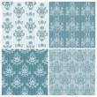 Set of ornamental DAMASK illustrations - for your design, invita — Imagen vectorial