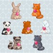 Cute Baby Animals holding Hearts - valentine day illustration in