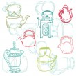 Beautiful Background of Teapot Doodles in vector — Stock vektor