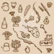 Stock Vector: Set of Hand Drawn Various Vintage Elements - for design and scra