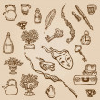 Set of Hand Drawn Various Vintage Elements - for design and scra — Stock Vector