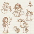 Royalty-Free Stock Imagem Vetorial: Hand drawn collection of Angels and Christmas doodles in vector