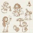 Hand drawn collection of Angels and Christmas doodles in vector — Stock Vector