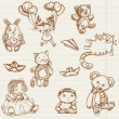 Hand drawn toys collection in vector — 图库矢量图片