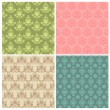 Set of Seamless Colorful Damask Wallpaper Patterns in vector — Stock Vector