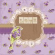 Scrapbook Design Elements - Vintage Flowers and Bird Scrapbook P - Stock Vector