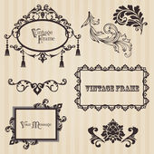 Vintage frames and design elements - with place for your text — Stockvektor