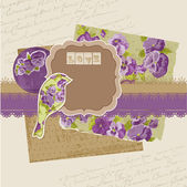 Scrapbook Design Elements - Vintage Viola Flowers in vector — Vettoriale Stock