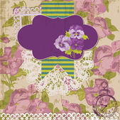 Vintage Scrapbook Design Elements - Viola flowers in vector — Stok Vektör