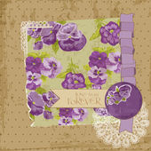 Scrapbook Design Elements - Vintage Flowers Scrapbook Page in ve — Stok Vektör