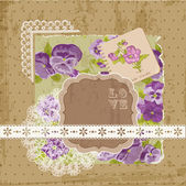 Scrapbook Design Elements - Vintage Violet Flowers in vector — Cтоковый вектор