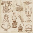 Set of Various Vintage Doodle Elements - hand drawn in vector — Stock Vector #8712509