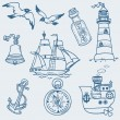 Nautical doodles - Hand drawn collection in vector — Stock Vector