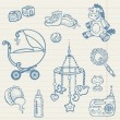 Baby doodles - Hand drawn collection in vector — Stock Vector
