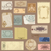 Set of Old paper with Vintage Frames and Damask elements in vect — Stock Vector