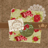 Scrapbook Design Elements - Vintage Flowers and Frames in vector — Stok Vektör