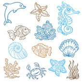 Marine life doodles - Hand drawn collection in vector — Stock Vector