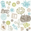 Sewing Kit Doodles - hand drawn design elements in vector — Stock Vector