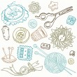 Sewing Kit Doodles - hand drawn design elements in vector — Stock Vector #8780520