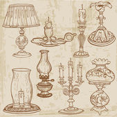 Set of Vintage Lamps and Candles - hand drawn in vector — Vector de stock