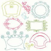 Sweet Doodle Frames with Birds and Flower Elements - in vector — Vector de stock