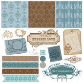 Elegant Scrapbook Design Elements - Vintage Frames and Damask el — Stock Vector