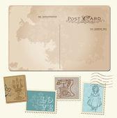Vintage Postcard and Postage Stamps - for wedding design, invita — Stock Vector