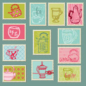 Funny Teapots and Cups Postage Stamps - for design, invitation, — Stock Vector