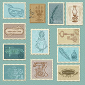Retro Postage Stamps - for wedding design, invitation, congratul — Stok Vektör