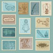 Retro Postage Stamps - for wedding design, invitation, congratul — Stock Vector