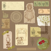 Set of Old paper with Vintage Goods - for your design and scrapb — Stok Vektör