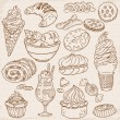 Royalty-Free Stock Vector Image: Set of Cakes, Sweets and Desserts - hand drawn in vector