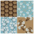 Seamless Floral Background Beautiful Set - for your design and s — Stok Vektör