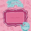 Baby Girl Arrival Card with Photo Frame in vector — Stock Vector