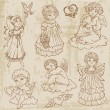 Vintage Angels, Dolls, Babys - hand drawn in vector — Stock Vector