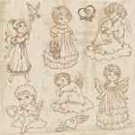 Vintage Angels, Dolls, Babys - hand drawn in vector — Stock Vector