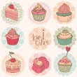 Cute Card with Cakes and Desserts - for your design and scrapboo — Stock Vector #8889545