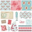 Scrapbook Vintage Wedding Collection - design elements for invit — Stok Vektör