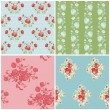Seamless Floral Background Beautiful Set - for your design and s - Stock Vector