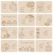 Set of Business Cards - Cakes, Sweets and Desserts - hand drawn — Stock Vector