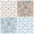 Marine life Background Collection - seamless pattern in vector — Stock Vector