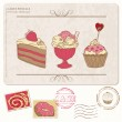 Set of cupcakes on old postcard with stamps - for design and scr — Stock Vector #8889650