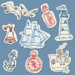Royalty-Free Stock Vector Image: Nautical doodles on Torn Paper- Hand drawn collection in vector