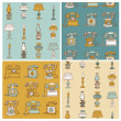 Set of Seamless Backgrounds with Vintage Telephones and Lamps - — Stock Vector