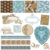 Scrapbook Design Elements - Vintage Flower Wallpapers and Vintag — Stock Vector