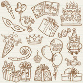 Hand drawn Birthday Celebration Design Elements - for Scrapbook, — Stock Vector