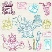 Hand drawn Birthday Celebration Design Elements - for Scrapbook, — Stockvector