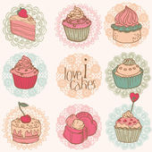 Cute Card with Cakes and Desserts - for your design and scrapboo — Stock Vector